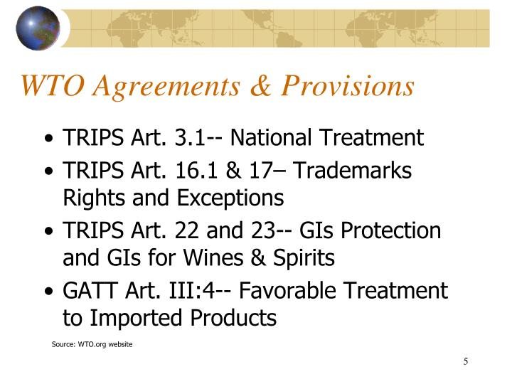 WTO Agreements & Provisions