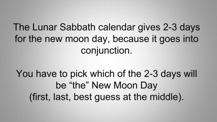 The Lunar Sabbath calendar gives 2-3 days