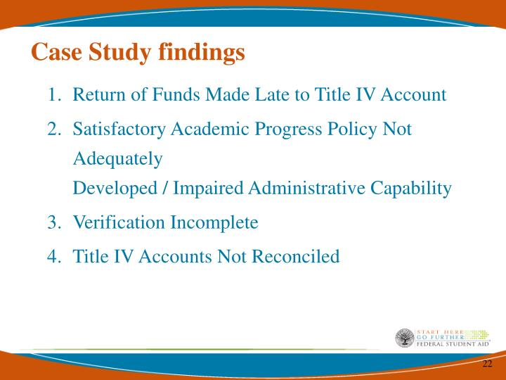 Case Study findings