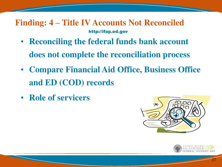 Finding: 4 – Title IV Accounts Not Reconciled