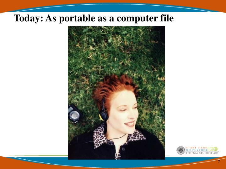Today: As portable as a computer file