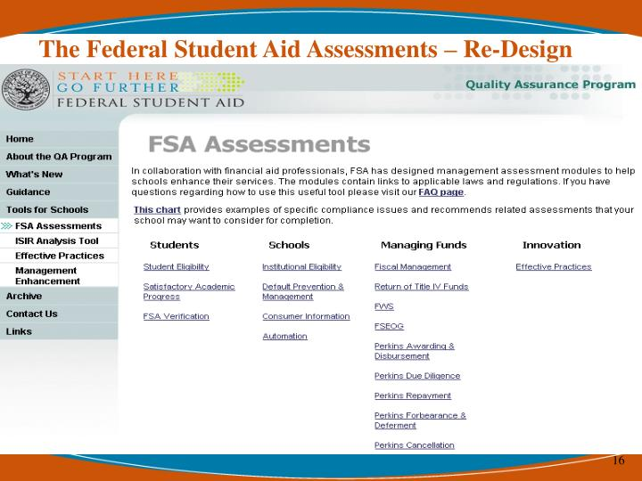 The Federal Student Aid Assessments – Re-Design