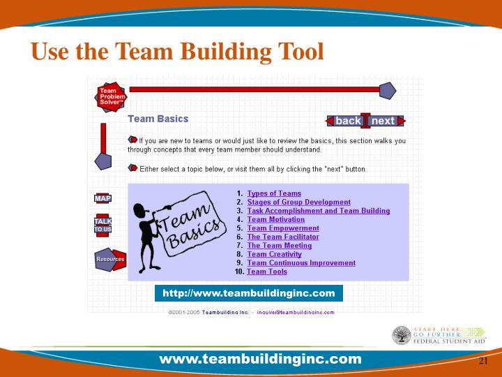 Use the Team Building Tool