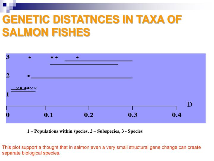 GENETIC DISTATNCES IN TAXA OF SALMON FISHES