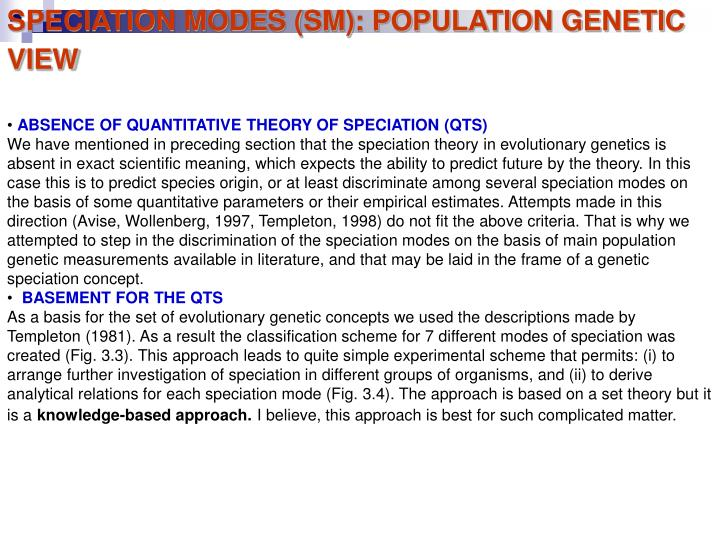 SPECIATION MODES (SM): POPULATION GENETIC VIEW