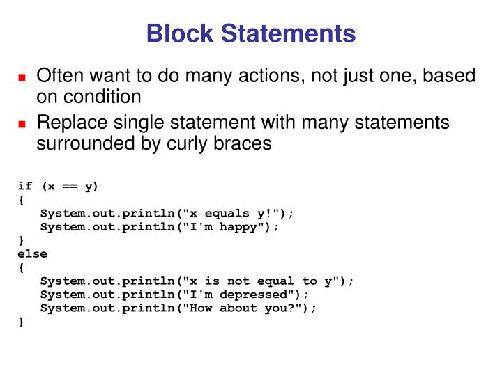 Block Statements