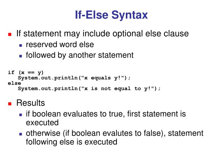 If-Else Syntax