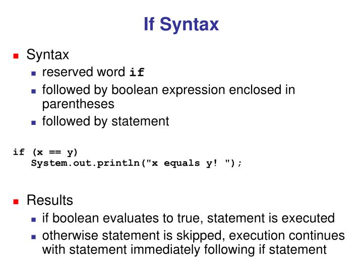 If Syntax