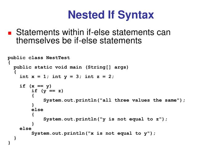 Nested If Syntax