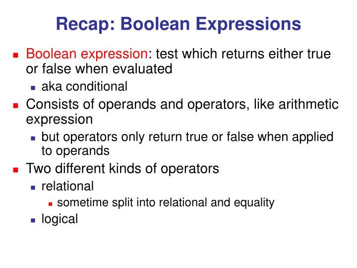 Recap: Boolean Expressions