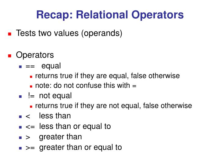 Recap: Relational Operators