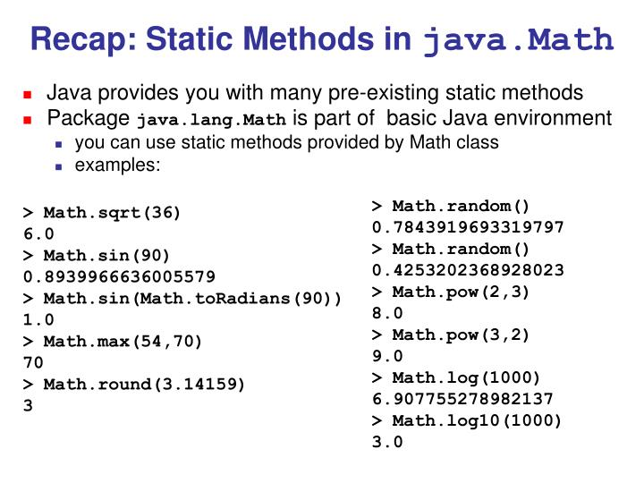 Recap: Static Methods in