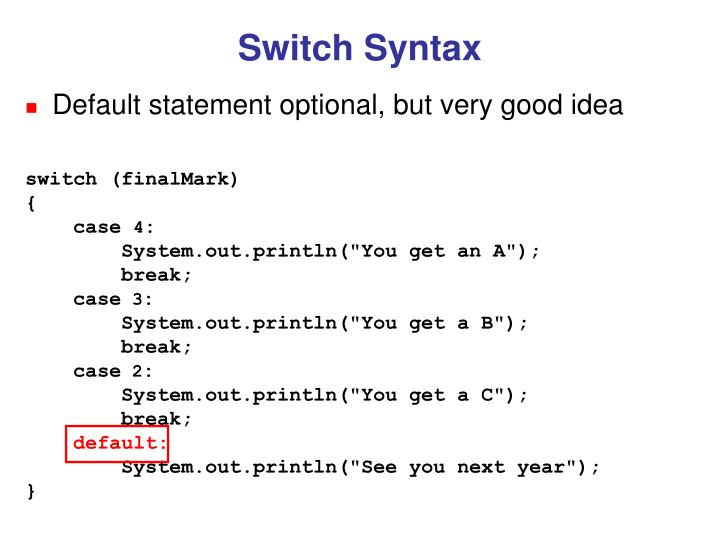 Switch Syntax