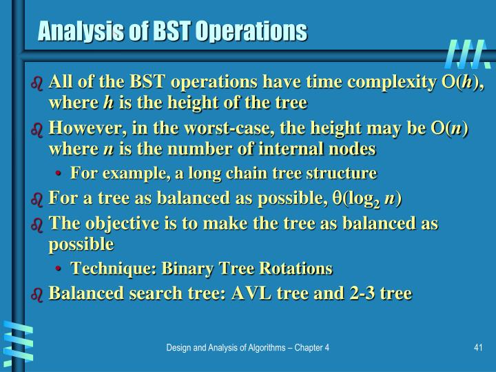 Analysis of BST Operations