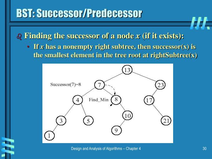 BST: Successor/Predecessor