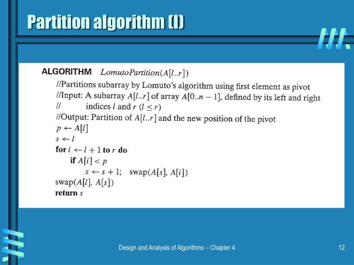 Partition algorithm (I)