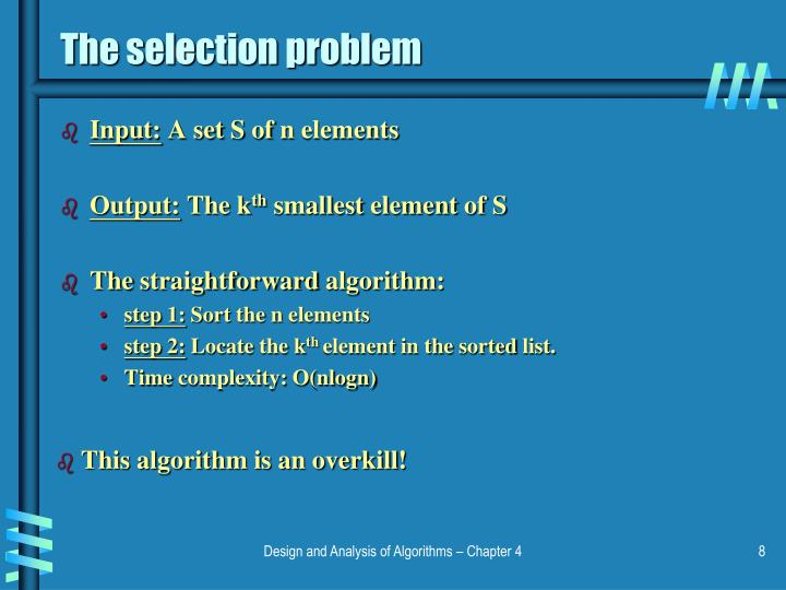 The selection problem