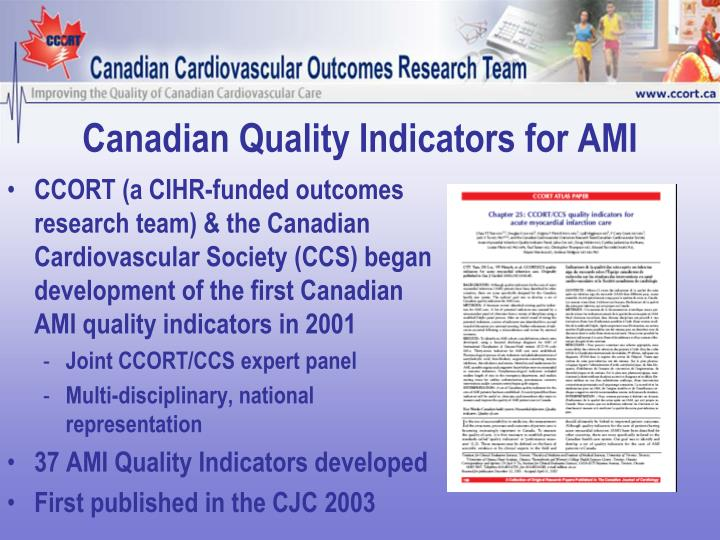 Canadian Quality Indicators for AMI