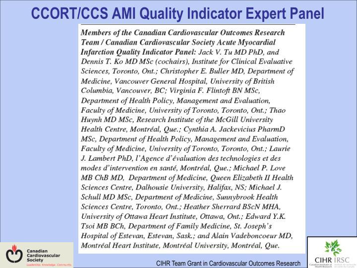 CCORT/CCS AMI Quality Indicator Expert Panel