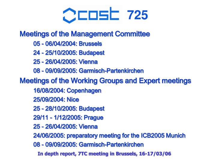Meetings of the Management Committee