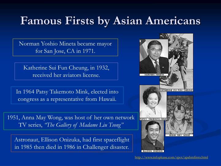Famous firsts by asian americans