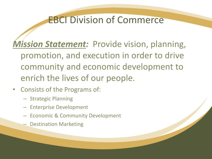 Ebci division of commerce