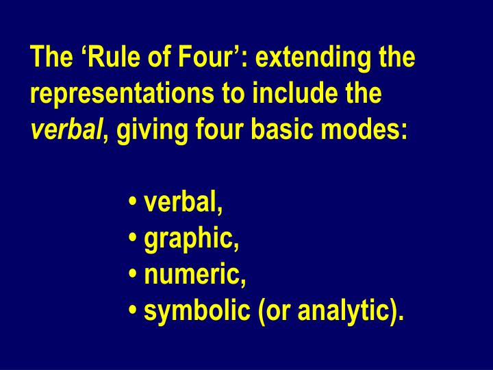 The 'Rule of Four': extending the