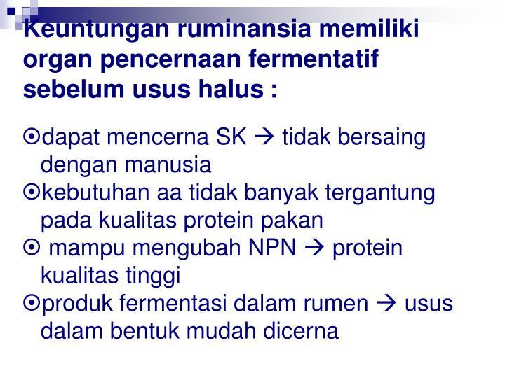 Keuntungan ruminansia memiliki organ pencernaan fermentatif sebelum usus halus