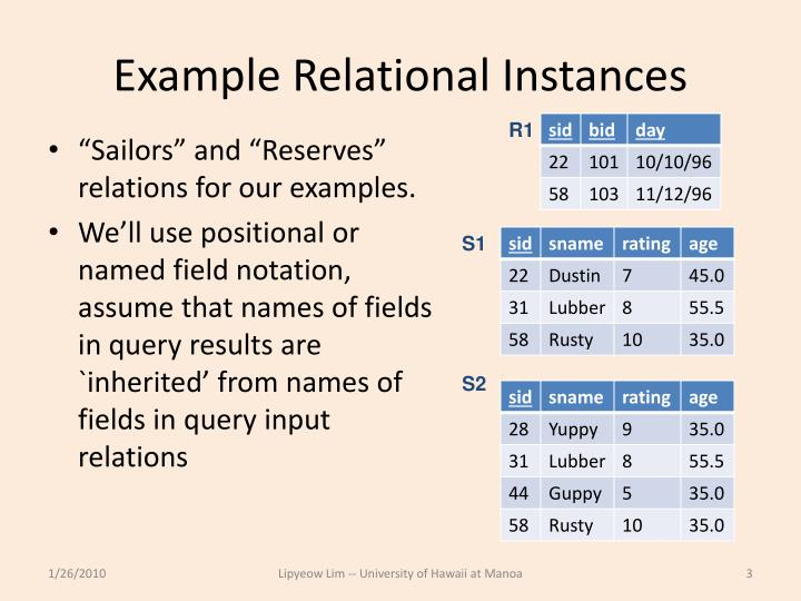 Example relational instances