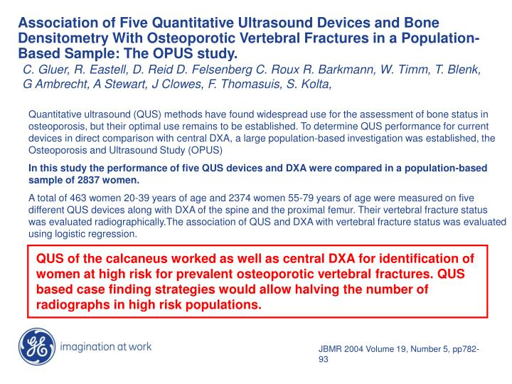 Association of Five Quantitative Ultrasound Devices and Bone Densitometry With Osteoporotic Vertebral Fractures in a Population-Based Sample: The OPUS study.