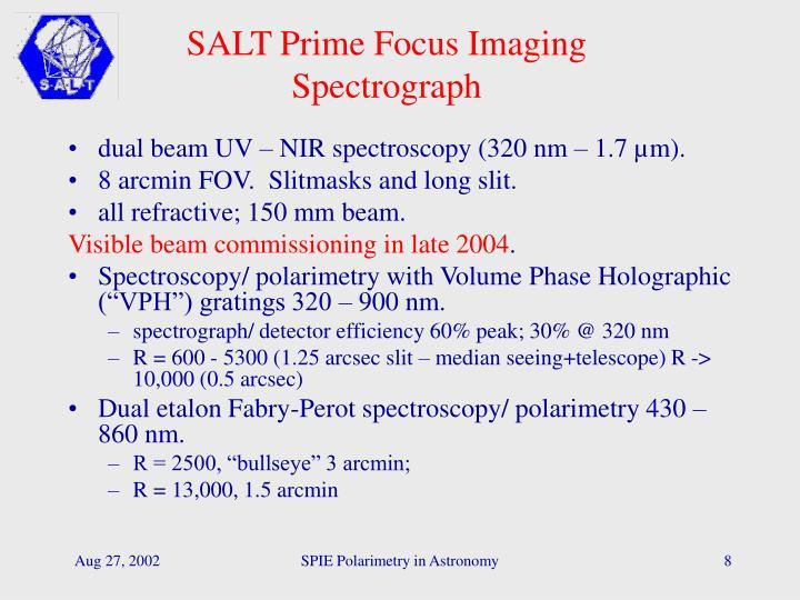 SALT Prime Focus Imaging Spectrograph