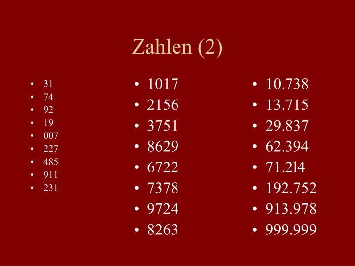 Zahlen (2)