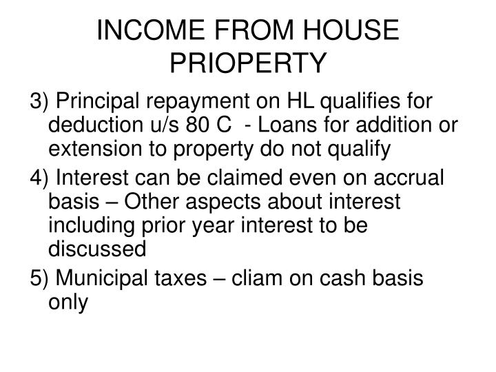 INCOME FROM HOUSE PRIOPERTY