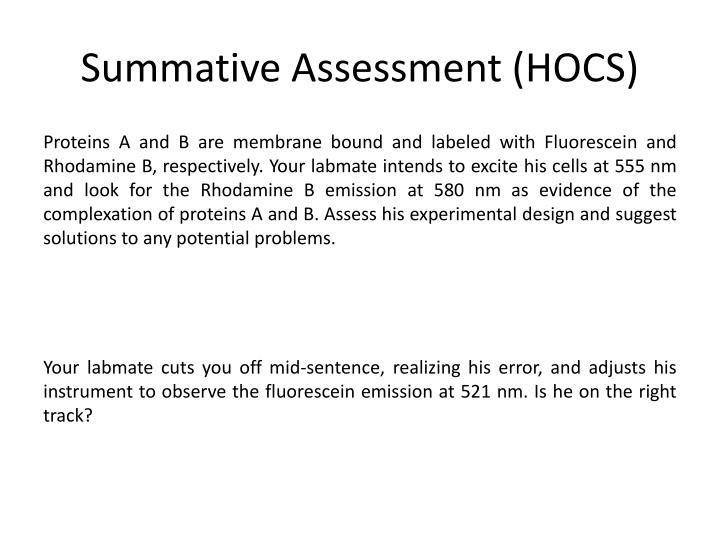 Summative Assessment (HOCS)