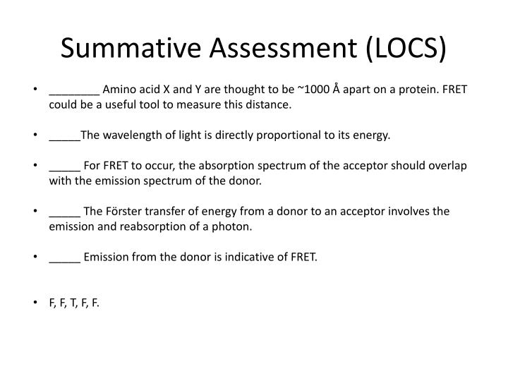 Summative Assessment (LOCS)