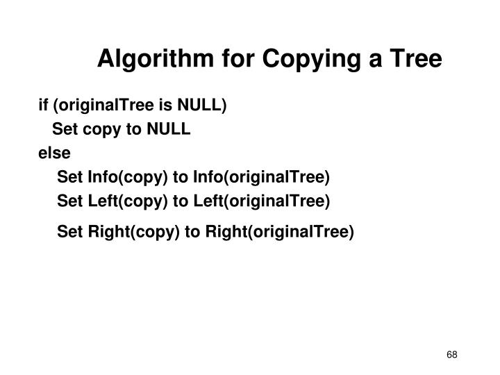 Algorithm for Copying a Tree