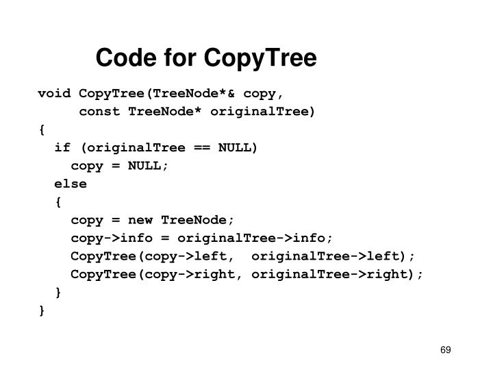 Code for CopyTree