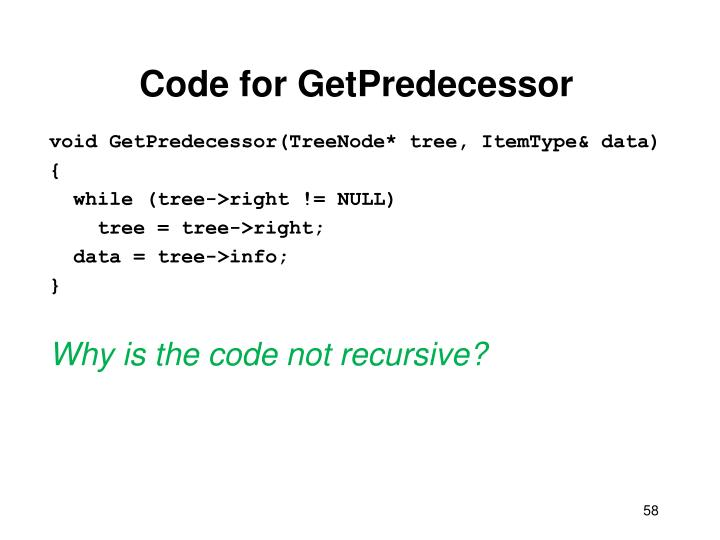 Code for GetPredecessor
