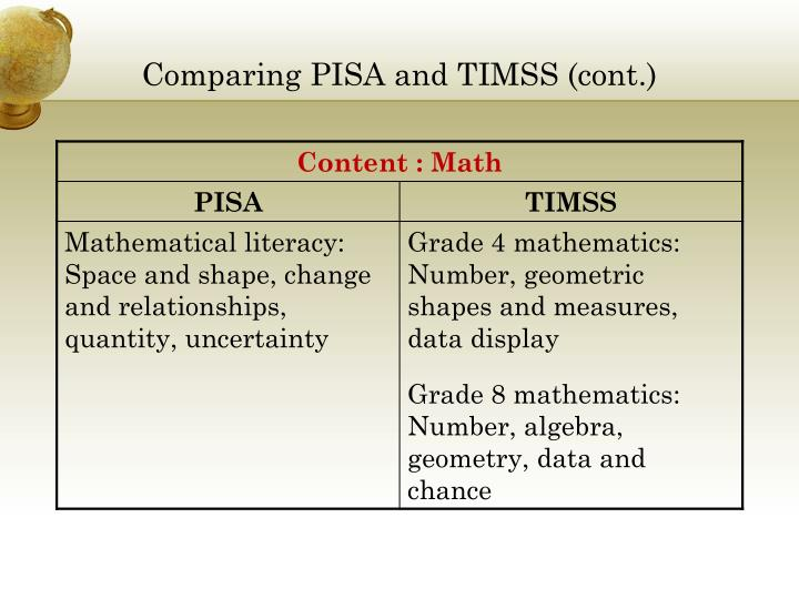 Comparing PISA and TIMSS (cont.)
