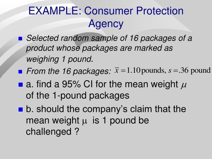 EXAMPLE: Consumer Protection Agency