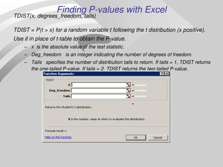 Finding P-values with Excel