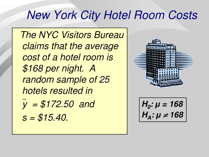 The NYC Visitors Bureau claims that the average cost of a hotel room is $168 per night.  A random sample of 25 hotels resulted in