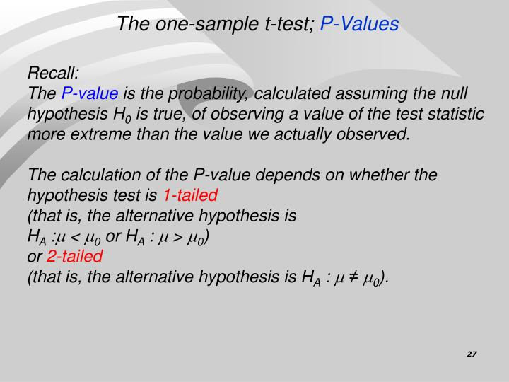 The one-sample t-test;