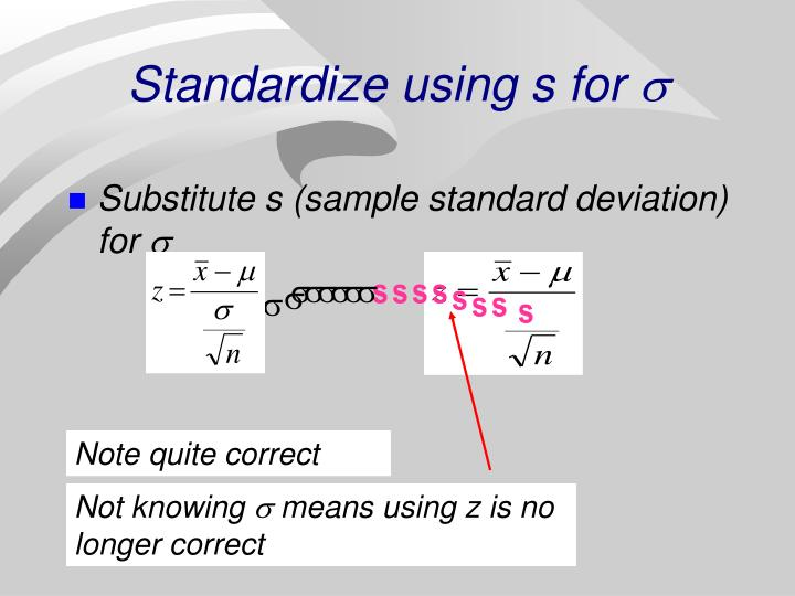 Standardize using s for