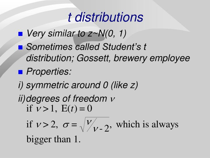 t distributions