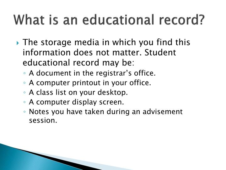 What is an educational record?