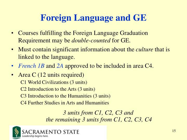 Foreign Language and GE