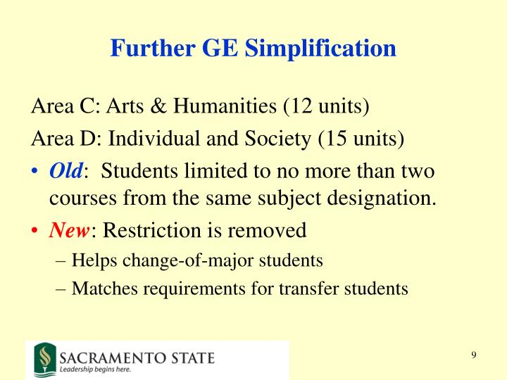 Further GE Simplification