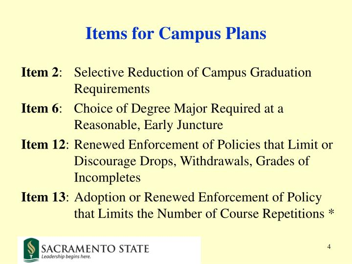 Items for Campus Plans
