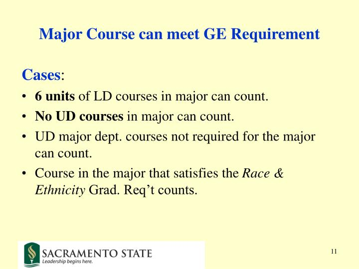Major Course can meet GE Requirement